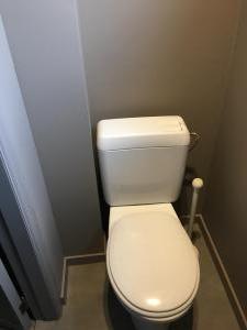 Na renovatie van een toiletruimte (vloer, muren, schilderwerk en afwerking)